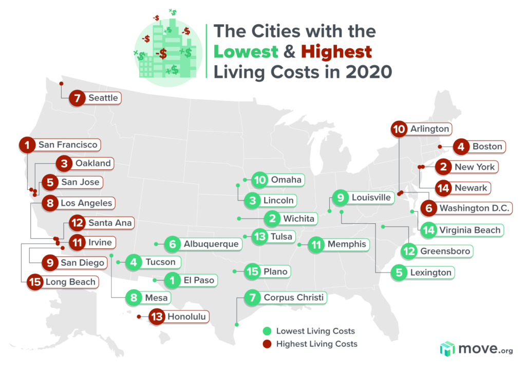 ارخص مدن امريكا  ارخص مدن امريكا ارخص مدن امريكا Lowest and highest cost of living map 1024x7211 1